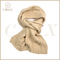 Fine appearance beige acrylic/wool/cashmere jacquard crochet plait classic thick knitted fashion lady winter scarf