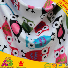 20 designs available 50MTS MOQ China Manufacturer owl print minky blanket fabric