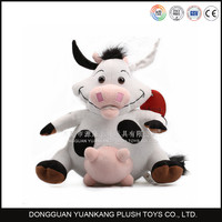Long horns 25cm plush white and pink plush cow toys