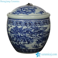 RYOM23 Magnificent Chinese rural life pattern hand paint ceramic storage crock with lid