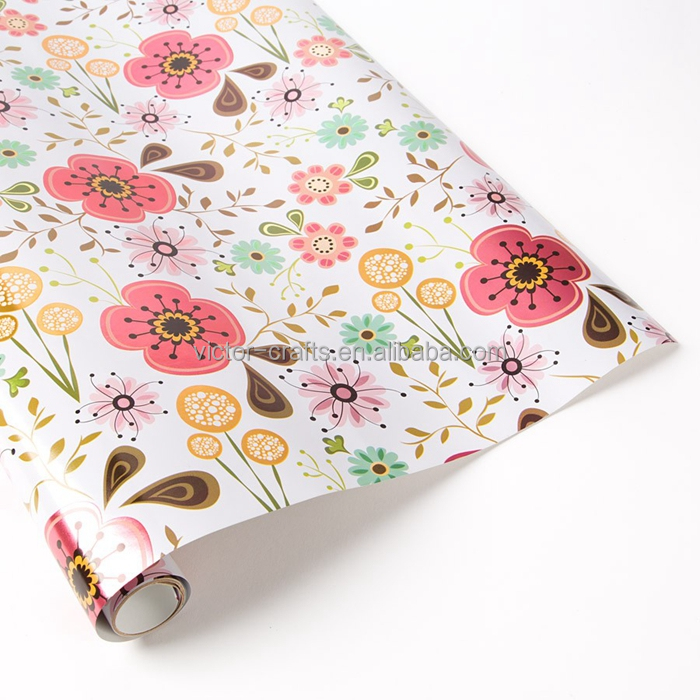 Victor Crafts Factory Poppy Floral wrapping paper gravure printing , offset print paper roll PDQ custom packing