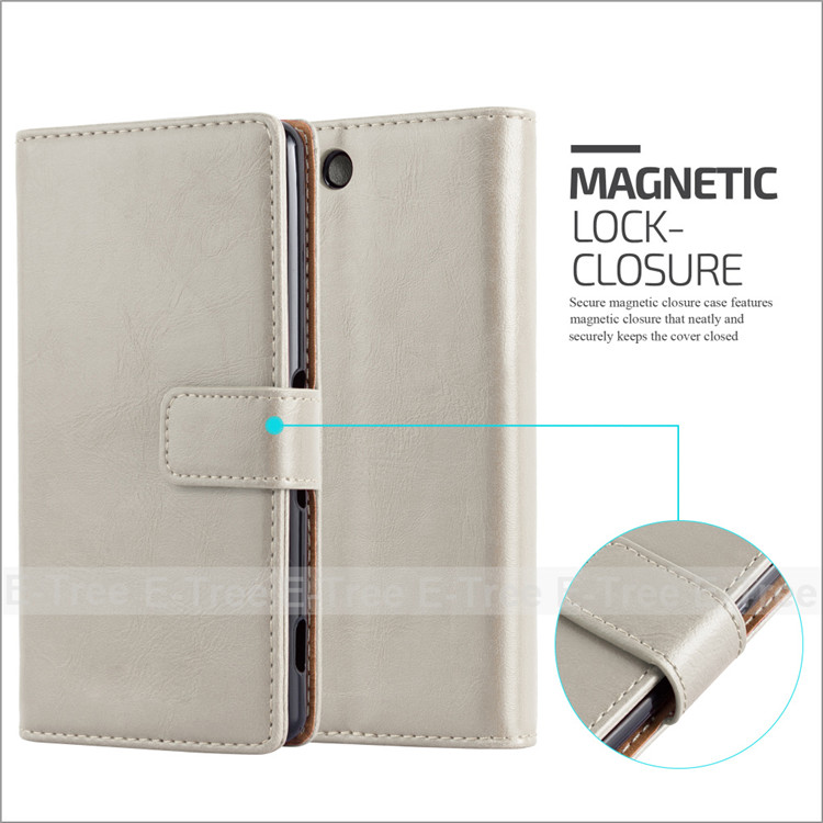 Luxury Crazy Horse Pu Leather+ Tpu Inside Buckle Wallet Magnetic Buckle Stand Case For Sony Xperia M5