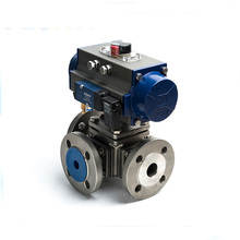 High Platform Dn200 Pn16 CF8M 316L Pneumatic Actuated WCB Cast Stainless Steel 3 Way Flanged Ball Valve