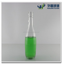 High quality 250ml round bowling shape empty vodka glass liquor bottle with screw cap wholesale