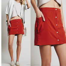 High quality button front open ladies pocket skirt mini skirt design