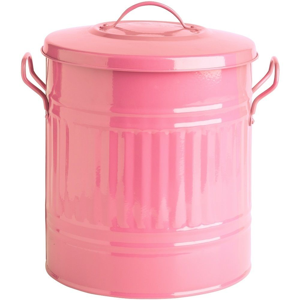 Pink 15 l galvanized small metal garbage cans buy for Pink bathroom bin