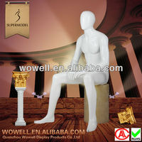 glossy white egg face sit male models dummy