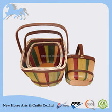autumn wooden basket with drop handle