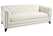 "Chip 80"" Chesterfield Ivory Twill cleaner leg and nailhead trim sofa furniture"