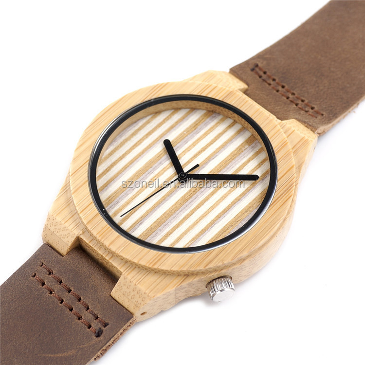 2017 bobo bird wood leather watches with your logo men wristwatches