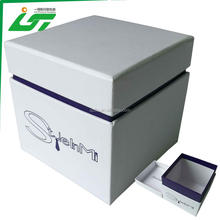 custom simple printing lid and base style hard cardboard gift box for watch packaging with foam pillow