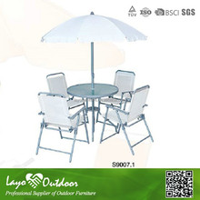 Promotional 6pcs aluminum outdoor furniture umbrella table chairs set outdoor round lounge furniture