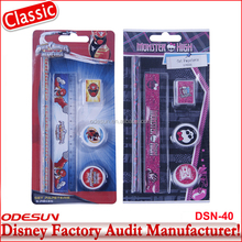 Disney Universal BSCI Carrefour Factory Audit Kungfu Panada Frozen School Ruler Monster High Stationery Set24
