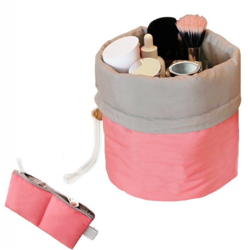 Buy Nylon Barrel Shaped Travel Toiletry Cosmetic Bag Makeup ...