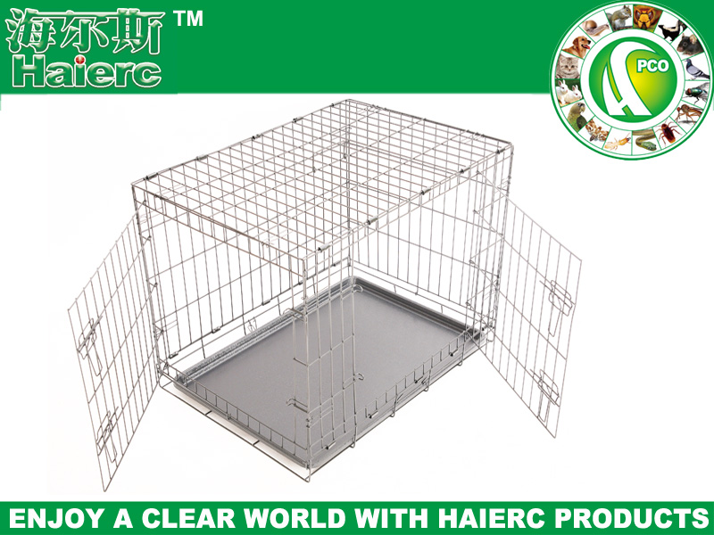 Stainless Steel Large Dog Cage Dog Crate Double Door Pet Cage DSA30