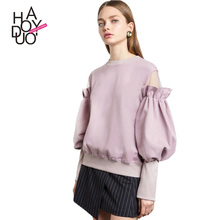 HAODUOYI Women Cute lantern Sleeve Tops Butterfly Long Sleeve Sweatershirts For Wholesale