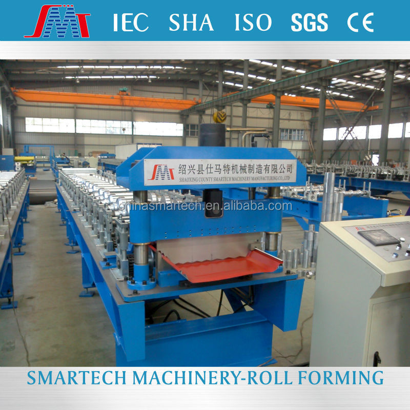 Site working used metal roof panel cold roll forming machine from Smartech Machinery