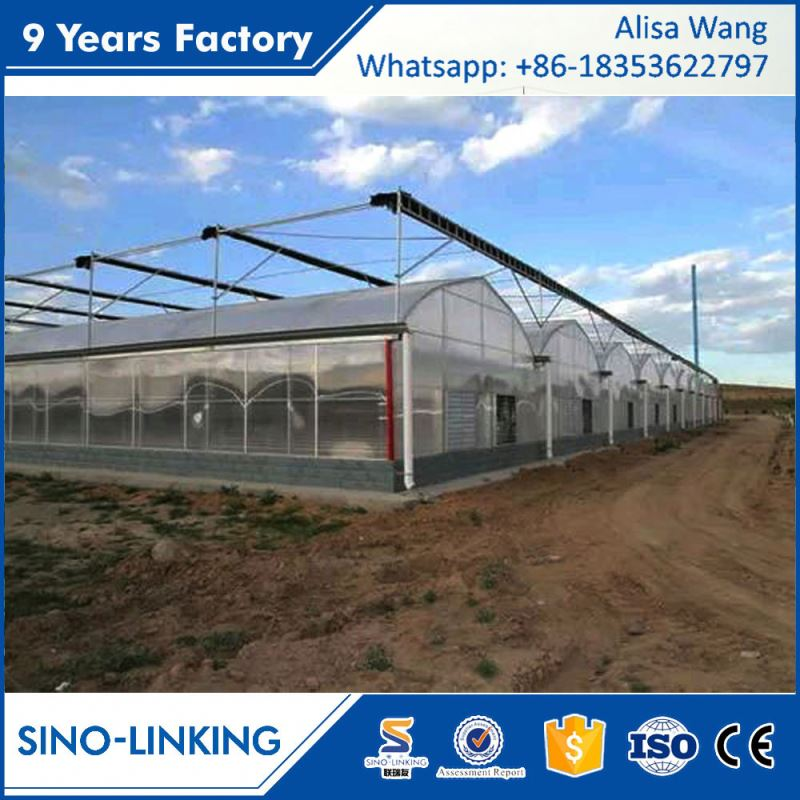 SINOLINKING low cost multi-span film greenhouse gutter connect for seeding