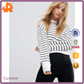 OEM factory high quality simple design sweatshirt new look stripe crop sweat
