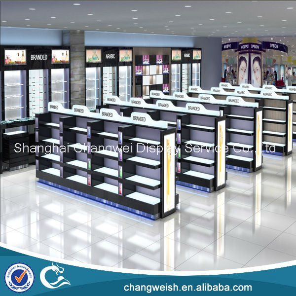 Fashion cosmetics shop display gondola and shelving cabinet , perfume shopfitting design with wooden shelves