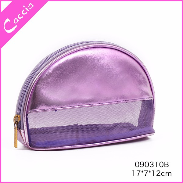 Mesh and PVC coin bag half round transparent clutch cosmetic bags