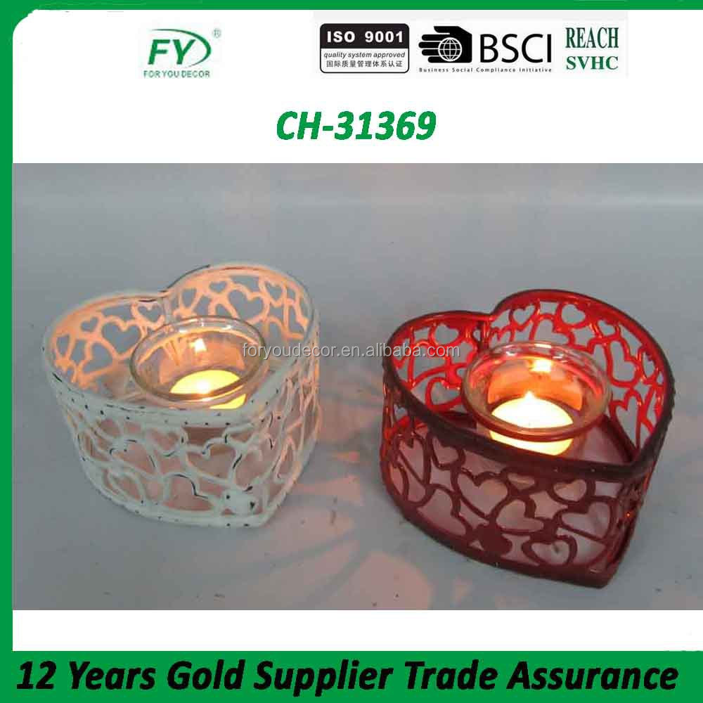 Cheap heart-shape metal tealight candle holder CH-31369