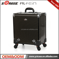 Popular rolling makeup train case cosmetic makeup trolley beauty train case with rolling wheels
