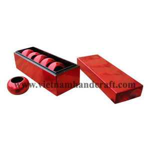 Eco-friendly handpainted vietnamese lacquered napkin ring set in black & silver metallic red