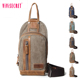 Wholesale customized men casual cross body sling chest pack canvas genuine leather chest shoulder bag in china