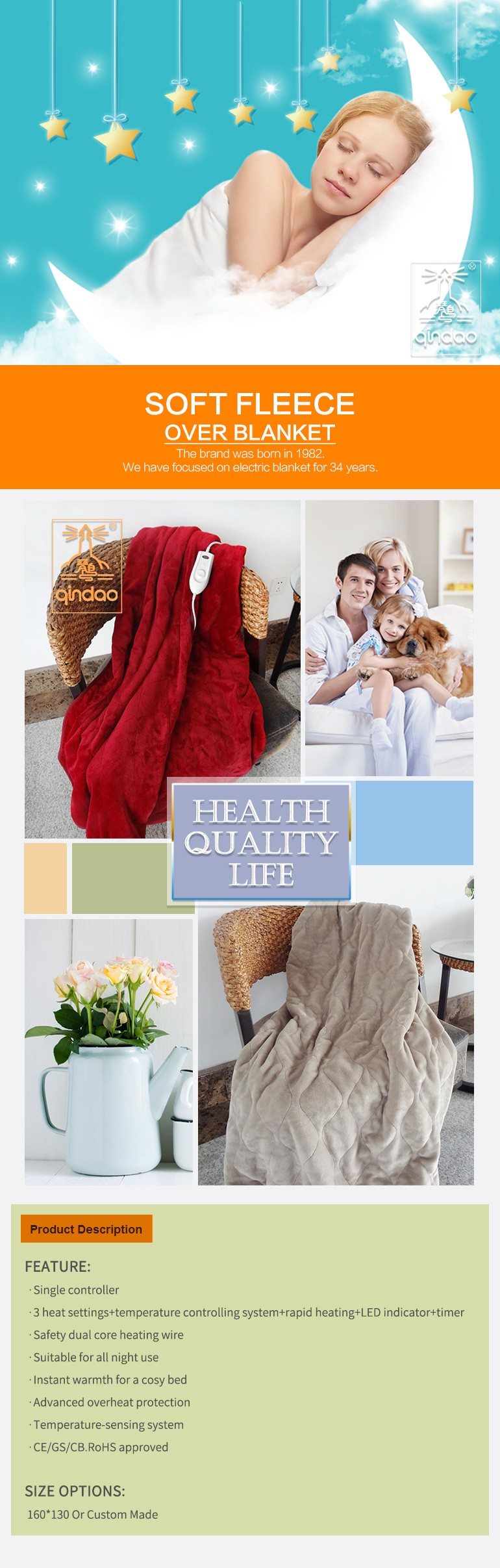 ETL Washable Heated Throw Blanket