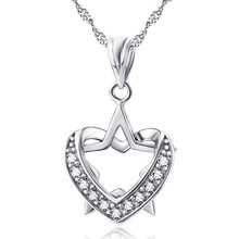Genuine 925 Sterling Silver Lucky Star Heart Necklace Women Jewelry