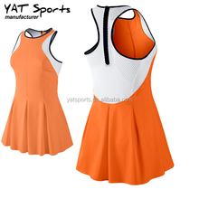 dri fit fabrics small order back zipper design mesh panel customization ladies sports fashion tennis dress