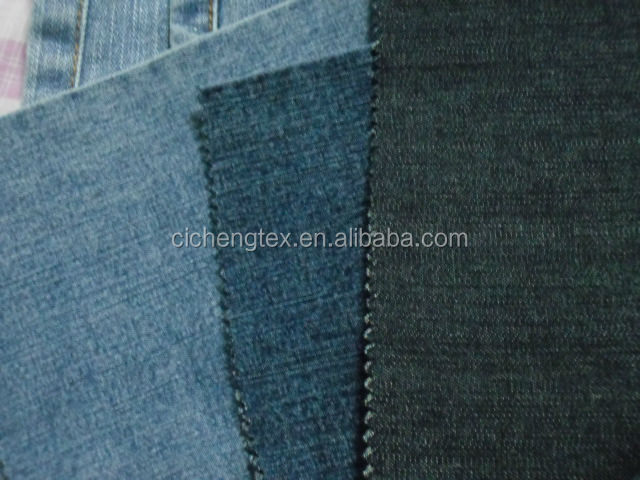 shaoxing textile high quality cotton poly and spandex solid denim fabric cotton and elastane fabrics