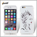 colored drawing + stick diamond TPU + acrylic mobile phone case for iphone 6