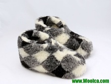 Closed-heel Indoor Sheepskin Slipper Boots Pure Wool Slippers Handmade Checkered