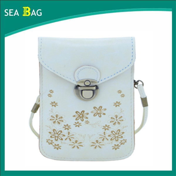 Women's Retro Flower Pattern Synthetic Leather Crossbody Shoulder Wallet Bag Cell Phone Pouch