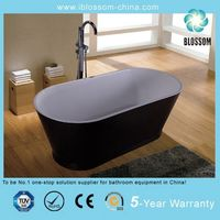 black solid surface bathtub