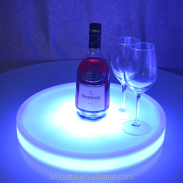 PE plastic rechargeable waterproof led plastic bar tray round serving tray glowing room service tray LTT-WB08C