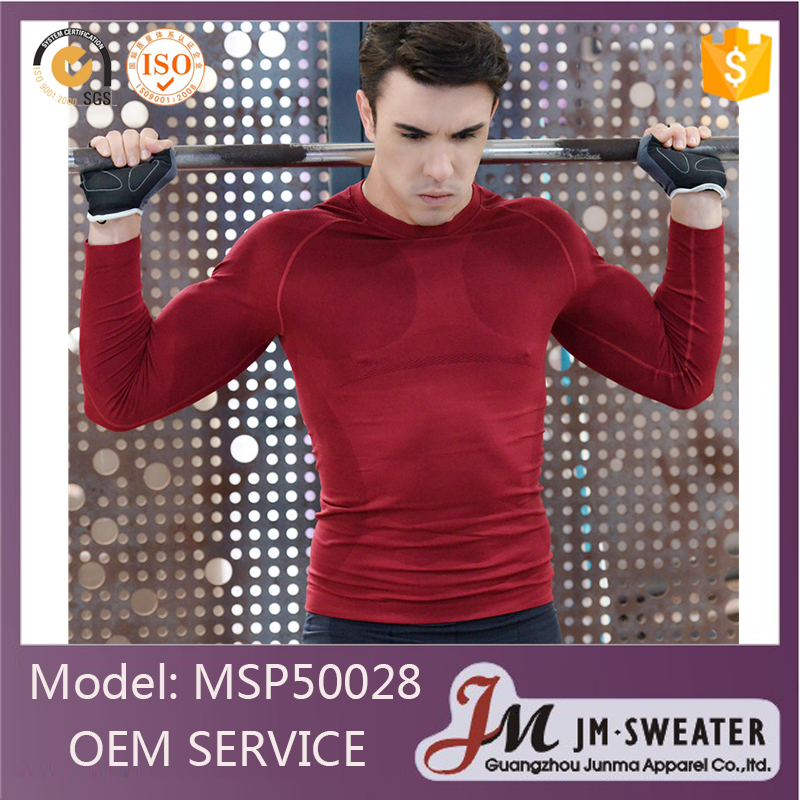 Fashion fitness design wholesale winter long sleeve red gym clothing wear men