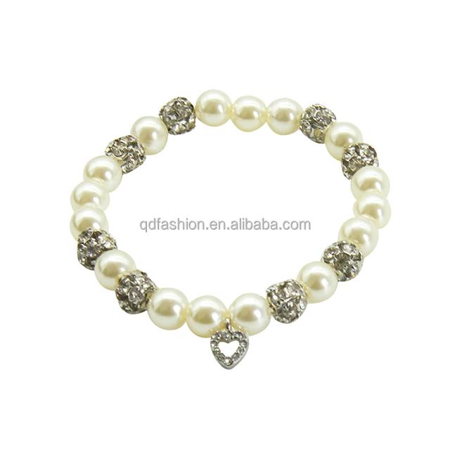 Crystal beads and pearl lovely heart pendant elegant bracelet bangle
