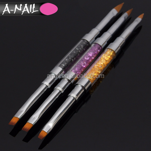 Hot New 2-Way 3 pcs (#2 #4 #6) Rhinestone Painting Acrylic Handle Kolinsky Carved Brush Pen 3D DIY Nail Art Brush Set
