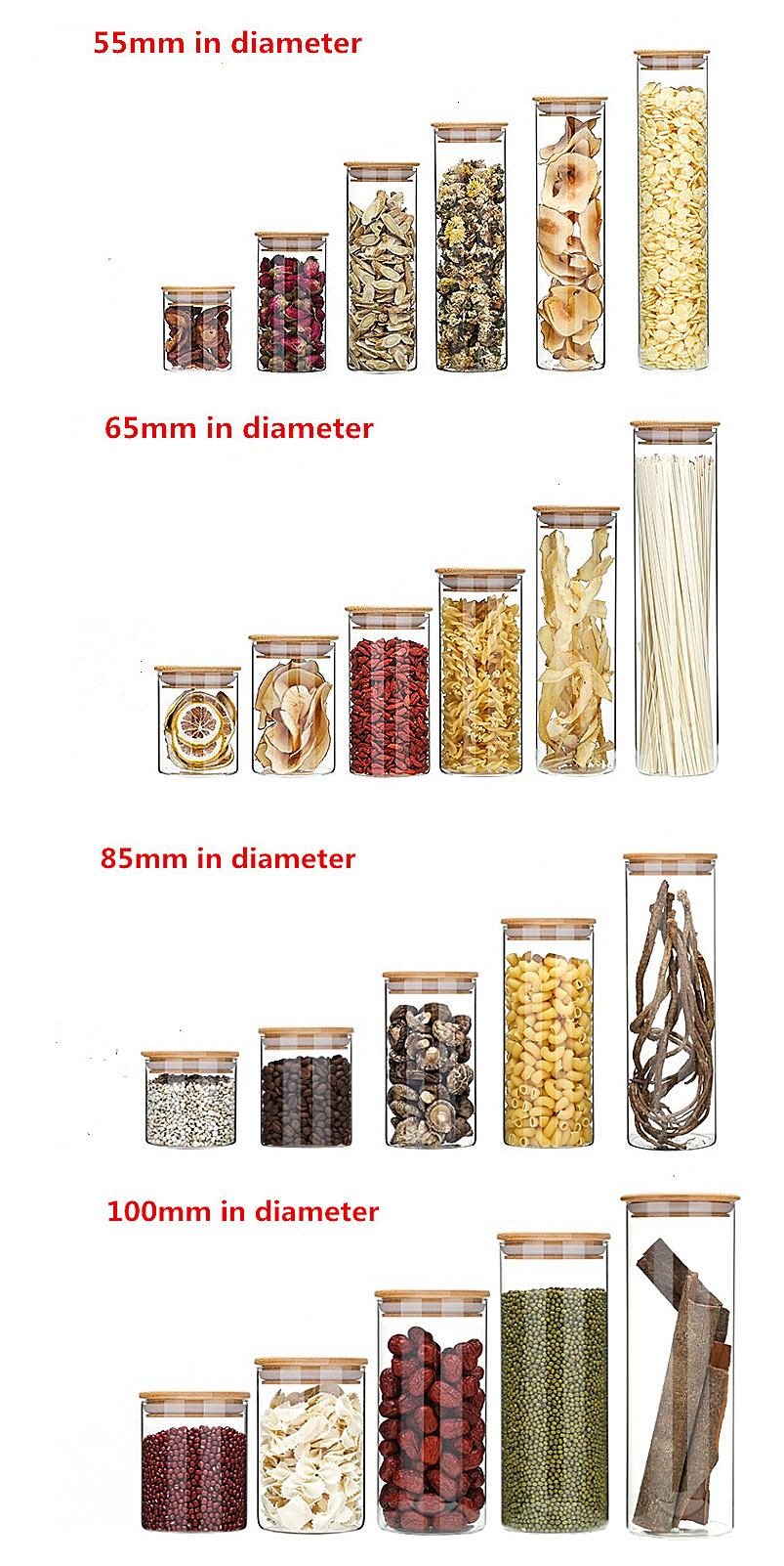 Eco-friendly borosilicate cookie candy honey food glass storage jar with airtight bamboo lid storage tank Storage-6666RL