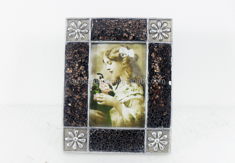 hot sell mosaic glass flower pattern photo frame for bedside decor