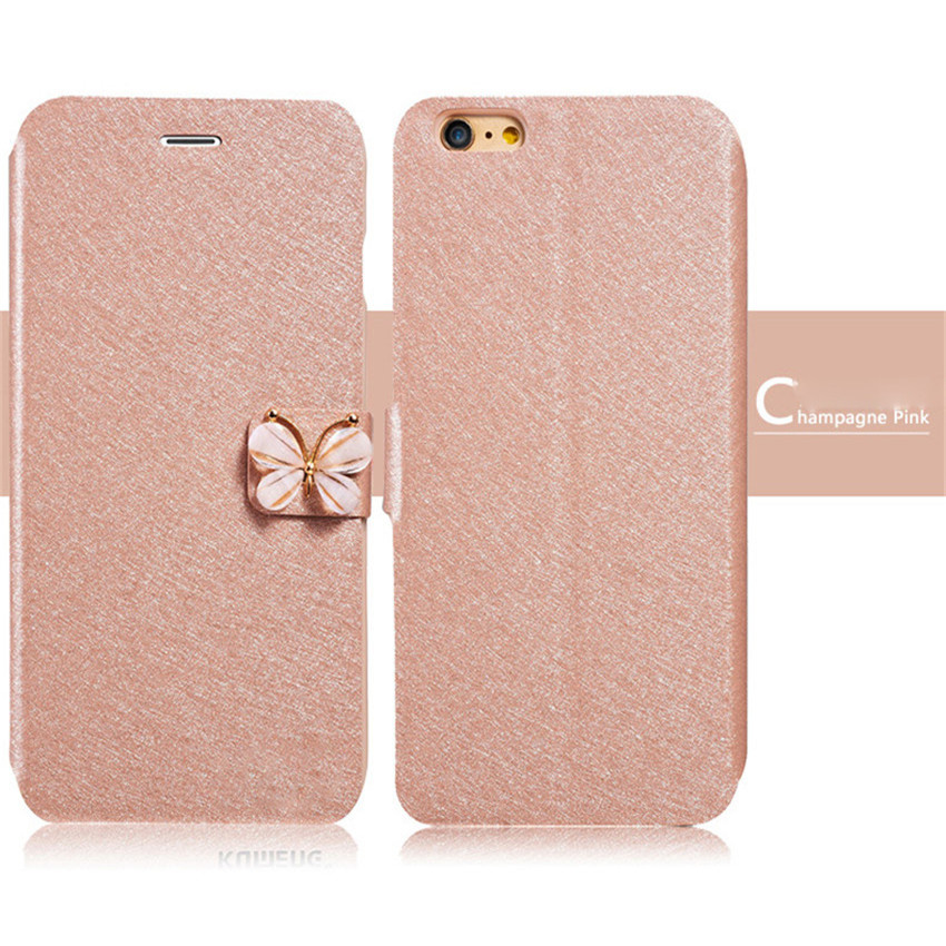 Flip PU Leather luxury silk design stand shockproof case for iphone