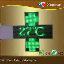 Outdoor double sided P20-48x48 dot display green color LED cross pharmacy sign with RF communication
