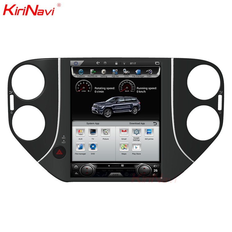"KiriNavi Vertical Screen Tesla Style android 6.0 10.4"" for vw tiguan car gps navigation 6 car dvd 4G radio"