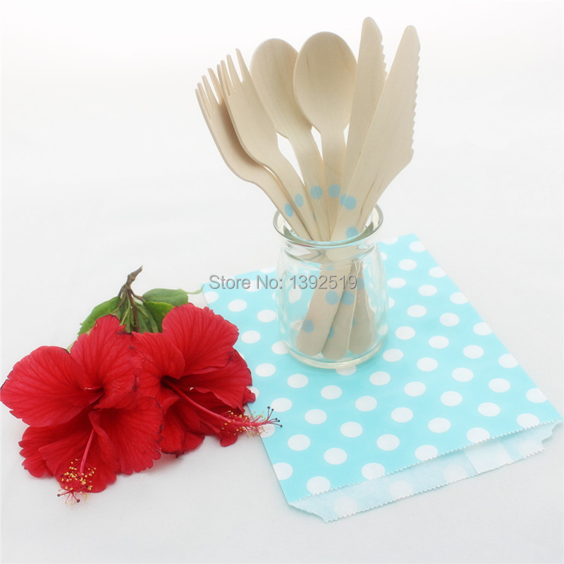 Wooden Cutlery Set--2100pcs Polka Dot  Baby Blue Party Decoration Disposable Wooden Fork  Spoon Knife Wood Cutlery Party Supply