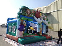 Inflatable animal cartoon style children outdoor playground big slides for sale