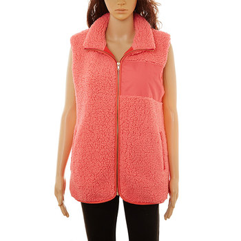 LOW MOQ wholesale women winter full zipper monogrammed sherpa vest with patch
