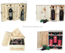 factory sale wooden wine box with glass cup